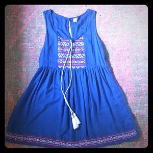 ASOS bohemian blue embroidered dress size 4